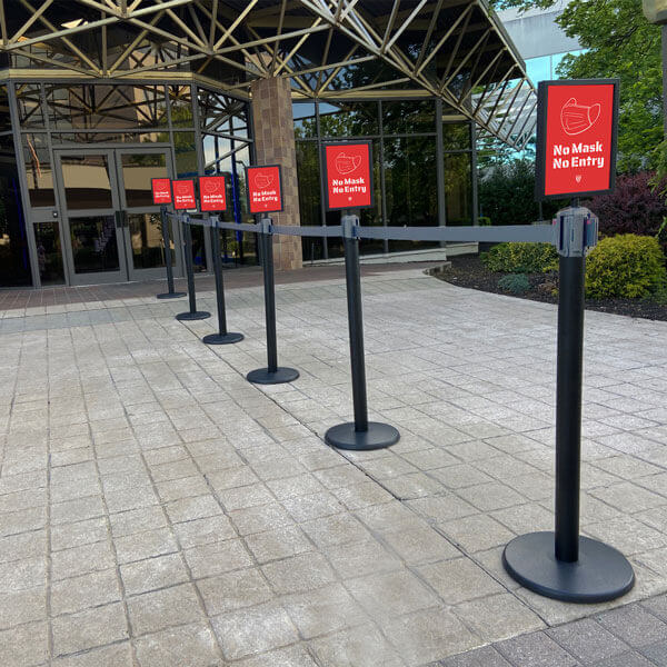 Crowd Control Stanchions with signage