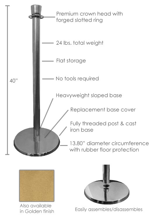 Rope Stanchions for Protective Distance
