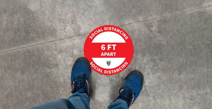Social Distancing 6 FT apart sticker